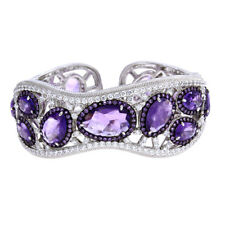 QVC SOLD OUT Judith Ripka 24.00ct Sterling Silver Amethyst Hinged Cuff $1900