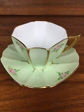 Rare Shelley Tea Cup And Saucer Set #723404 Queen Anne Green Gold Roses AS IS