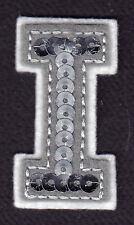"""LETTERS  - Silver  Sequin  2"""" Letter """"I"""" - Iron On Embroidered Applique"""