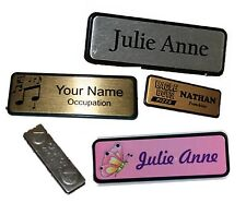 NAME BADGE Name tag WORK BADGES 6.4x1.9cm MAGNETIC backed Colour logo your text