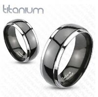 Mens Black Solid Titanium 2-Tone Dome Band Ring Engagement Wedding UK SELLER N15