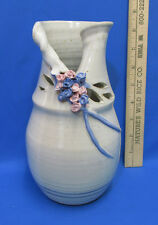 Hand Thrown Crafted Art Pottery Clay Vase w/ Applied Flowers Pink Roses Signed