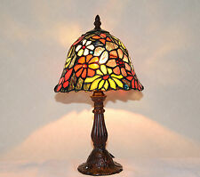 "8""W Butterfly Flowers Stained Glass Handcrafted Table Desk Lamp, Zinc Base!"