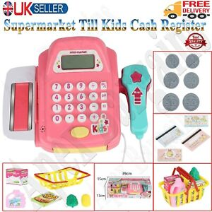 Kids Supermarket Shop Role Play Cash Register Toy Play Food and Toy Trolley Gift