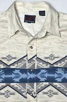 Roper Mens L Large  Marbled Pearl Snap Western L/S Shirt Aztec Southwestern