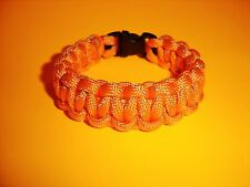 550 ParaCord Survival Cobra Braided Bracelet - Neon Orange w/ Reflective Tracer