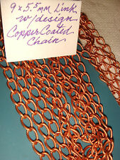 COPPER  PLATED CHAIN  w/ DESIGN   LINK 9 x 5.5 mm  CHAINS  LOTS  15 ft +