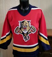 Vintage NHL Florida Panthers Red Hockey CCM YOUTH Jersey Size L/XL.