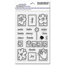 STAMPENDOUS RUBBER STAMPS CLEAR FLOWER BOX STAMP SET