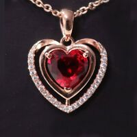 """Women 3 Ct Heart Ruby Pendant Necklace 14K Rose Gold Over 18"""" Chain Labor Day"""