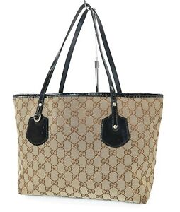 Auth GUCCI Brown GG Canvas and Black Patent Leather Tote Hand Bag Purse #39792