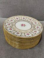 Antique Cauldon Ltd Porcelain Set of 12 Plates w/ Gold & Floral Decoration