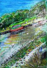 Moderno pintura original de medios combinados-Victoria Park, (Río Kennet) Newbury.