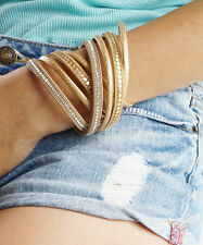 Black Wrap Cuff, Gold Vegan Leather MultiStrand Chain and Sequins Magnetic Clasp