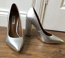 Steve Madden Silver Leather High Block Heel Shoes Uk 7