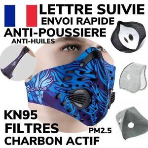 ROCKBROS Masque NEOPRENE Sport Vélo Balade LAVABLE BLEU +2 Filtres Charbon NEUF