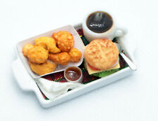 Dollhouse Miniatures 2 Food Plates Nuggets Fried Chicken Burger Coleslaw Deco