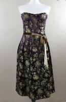 David Meister Brocade Rayon Silk Strapless Belted Dress Size 6 Birds Floral new