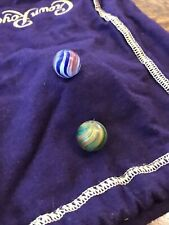 "Vintage Antique Handmade Marbles Lot of 2 Onion Skins 1/2"" Small Multicolored"