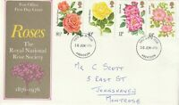 30 JUNE 1976 ROSE SOCIETY CENTENARY POST OFFICE FIRST DAY COVER ABERDEEN FDI