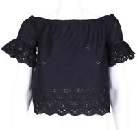 MADEWELL Off Shoulder Crop Top Eyelet Peasant Blouse Black Cotton Sz XS /8913