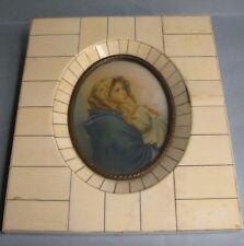 Beautiful oil hand painted miniature signed and framed. Madonna and child.