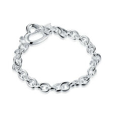 New products Wholesale Men Women 925 silver Filling Heart Bracelets/Bangles Gift