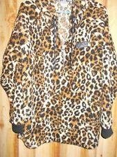 Victorias Secret PINK Leopard Print Sherpa Hoodie Jacket Pullover Half Zip Large