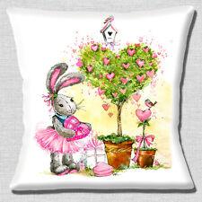 Cute Cartoon Rabbit Cushion Cover 16 inch 40cm Love Hearts Birds Trees Garden