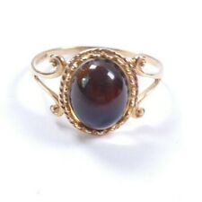 Garnet ring 9 carat gold Size R1/2 solitaire oval cabochon