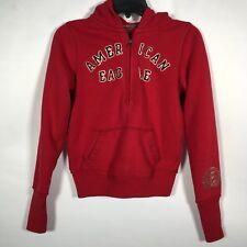 American Eagle Women's XS Red Sweatshirt Hoodie Half Zip Embroidered