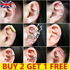 Clip On Ear Cuff Fake Earring Non Pierced Ring Wrap Sterling Silver Gold Set New