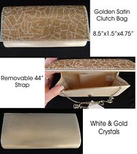 """Golden Satin CLUTCH BAG with White and Gold Crystals 8.5""""x1.5""""x4.75"""""""