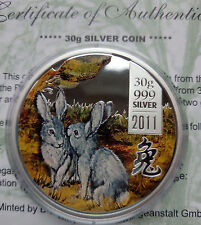 Cook islands 5 dollar 2011  Lunar  Year of the Rabbit  Silver 1 oz   Box COA