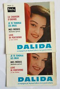 DALIDA ♦ LOT DE 2 x EP TIRAGES DIFFERENTS ♦ LA CHANSON D'ORPHEE (voyez détails)