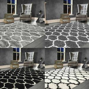 Shaggy Rug GEOMETRIC Soft Fluffy Pile Large Living Room Floor Bedroom Carpet Mat
