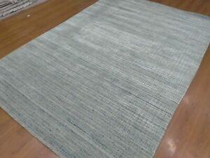 6'6x9'6 Rug | Handmade Hand Loom Wool & Viscose Gray Blue Area Rug