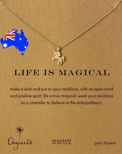 Dogeared Life is Magical Unicorn Gold Dipped Pendant Necklace + Free Gift Pouch