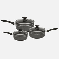 Non Stick Black Sauce Pan with Lid Suitable For Induction Hobs and Gas Hobs