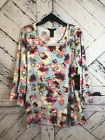 Ali Miles Womens Plus Size 1X Blue Pink Floral Top Ruffles 3/4 Sleeve Spring