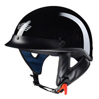 Motorcycle Half Face Helmet DOT Approved Bike Cruiser Chopper High Gloss Black L