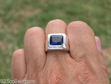 11x9 mm 925 Sterling Silver September Blue Stone Solitaire Men Ring Size 14