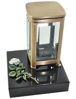 Grablampe aus Messing, Grablaterne mit Ornament Rose, Granitsockel, Grablicht,