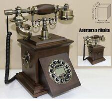 TELEFONO STILE ANTICO LEGNO NOCE RIFINITURE IN METALLO BRONZATO APERTURA RIBALTA