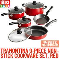 Tramontina 9-Piece Non-stick Cookware Set, Glass Lids, Saute Pan, Sauce Pan, Red