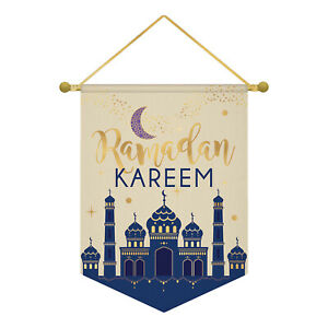 EID Mubarak Ramadan Kareem Party Hanging Canvas Banner Moon Stars Decoration