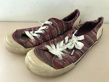 ROCKETDOG Purple Stripe Pattern Dap Style Lace Up Trainers Size UK 7