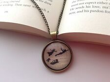 PETER PAN BOOK PAGE DESIGN PENDANT NECKLACE GLASS CABOCHON BRONZE SETTING