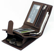 Mens RFID Real Leather Wallet Credit Card Zip Coin Purse & ID Pouch 42 Brown