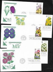 #3025-3029 32c - Winter Garden Flowers - Set of  5 Artmaster FDCs